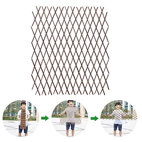 warmheart 40/70CM X 200CM Expanding Wooden Trellises,Durable Retractable Wooden Fence,Plant Climbing Frame Trellis For Flower Climbing Plants, Flowers And Vegetables,Decoration Stand
