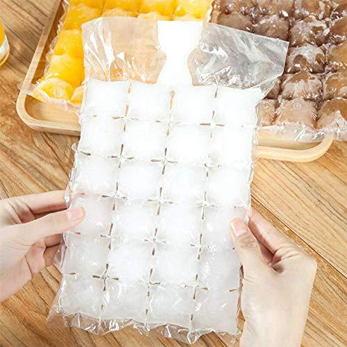 WXWXXX 50 bolsas desechables para cubitos de hielo, bandejas autoselladas, bolsas de hielo para congelador, 1200 cubos de hielo transparentes 30,5 x 19 cm