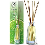 Difusor con varillas perfumadas Lima 100ml con 8 Palitos de Bambú - 0% Alcohol - Puro Aceite Lima para Cuartos - Hogares - Oficinas - Restaurantes - Aromaterapia - Ambientador para ?ocina y Baño