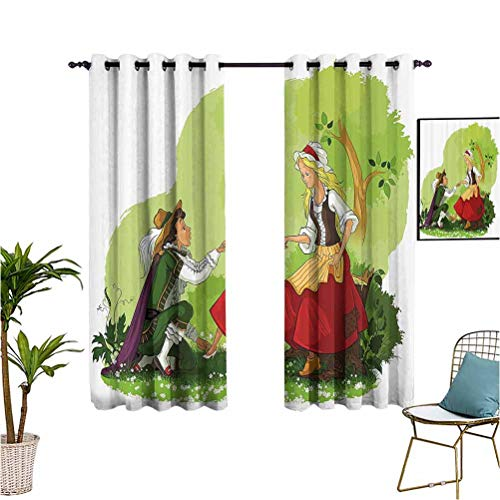 Cartoon best home fashion thermal insulated blackout curtains Prince Putting Glass Shoe on His Girlfriend Fantasy Fairytale Romance Illustration Kitchen / bedroom window interior dimming curtains W55