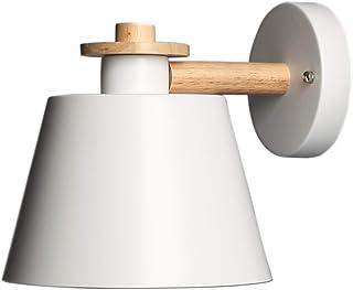 Moderno Apliques de Pared Lámpara Blanco Metal Industrial Retro Luz de Pared Base de Madera Art Deco E27 Base para Dormitorio, Cocina, Restaurante, Cafetería, Pasillo