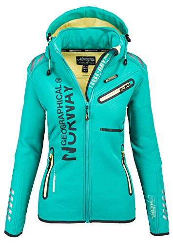 Geographical Norway Damen Softshell Funktions Outdoor Regen Jacke Sport [GeNo-24-Grün-Gr.L]