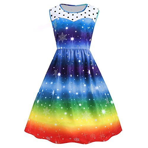 Christmas Rainbow Party Dress Womens Vintage Xmas Swing Dress