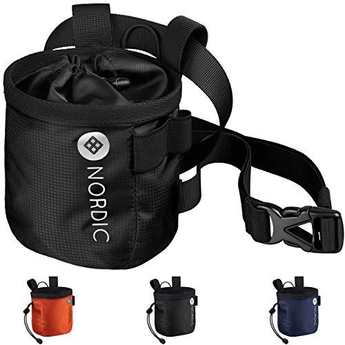 Nordic® Chalkbag (schwarz) z. Klettern & Bouldern - ultraleichter Magnesiabeutel - Chalk Bag Hüftgurt abnehmbar - hochwertiger Magnesiumbeutel für jedes Wetter - staubdichter Kreidebeutel