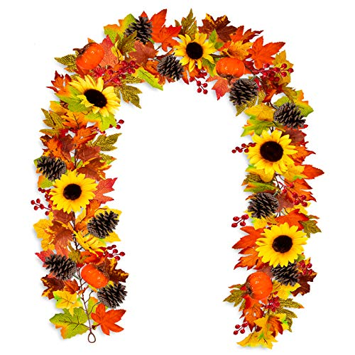 Whaline Autumn Decoration Artificial Fall Garland Maple Leaves Vine 6.23Ft Fake Sunflower Pumpkin with 2 Hooks Pine Cones Berries Hanging Decor for Thanksgiving Fireplace Door Yard Backdrop