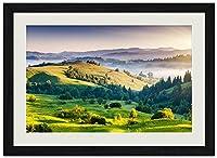 山、日の出 (N001) 自然風景 壁掛け黒色木製フレーム装飾画 絵画 ポスター 壁画(40x60cm)