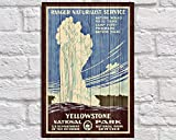 CELYCASY Yellowstone Reise-Poster aus Holz, Wandkunst,