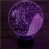 ilusión óptica 3D LED Luz nocturna Acuario constelación flash descolorido apoyos astrología mejor regalo de para niños y niñas Cambio de color colorido, con interfaz USB