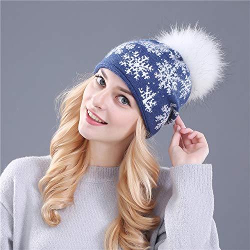 Pompones Sombrero de Punto Skullies Sombrero de Invierno Nias Sombrero de nia Guisantes Sombrero de Nieve de Navidad-Blue Hat White Pom