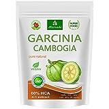 Garcinia Cambogia 90 cápsulas vegetarianas (4:1 extracto, 60% HCA) polvo de fruta con calcio,...