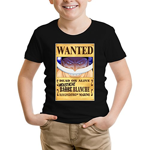 T-Shirt Enfant Noir One Piece parodique Edward Newgate - Barbe Blanche : Le Wanted Secret. : (Parodie One Piece)
