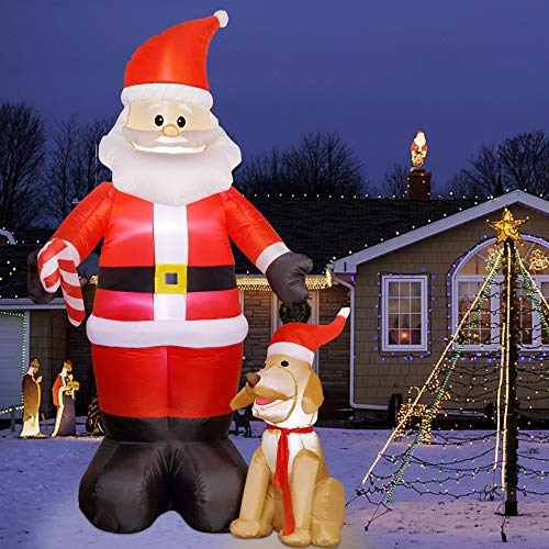 Twinkle Star Christmas 7FT Inflatables Lighted Santa Claus with Dog, Blow Up Cute Indoor Outdoor Xmas Decor Lawn Yard Garden Decorations