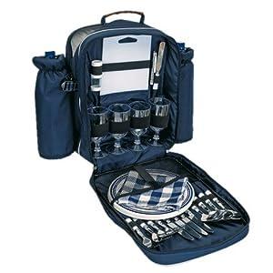 Picknick Rucksack Picknicktasche Kühltasche Kühlfach + Geschirr Besteck blau