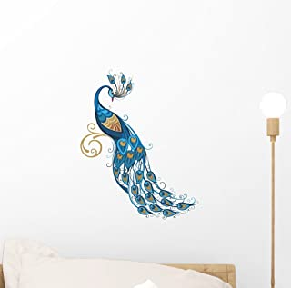 Wallmonkeys Peacock Wall Decal Peel and Stick Graphic (12 in H x 9 in W) WM10719