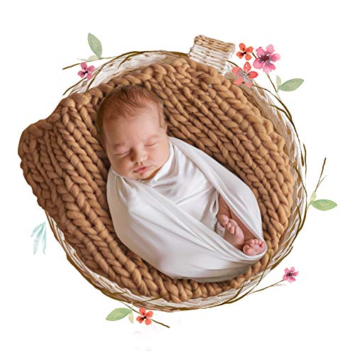 ICOSY Chunky Knit Blanket Newborn Photography Props Baby Milestone Photo Blanket for Photograph Chunky Yarn Basket Filler Backdrop Photo Studio Posing Props