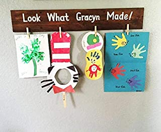 Personalized Kids Artwork Display Look What Made Wood Sign for Birthday Gift F1