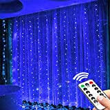 Cortina de Luces LED Nuevo Cortina Luces LED 3 * 3M 8 Modos de Luces, Resistente al Agua,Cortina Luces LED para Decoración de Ventana (azul)