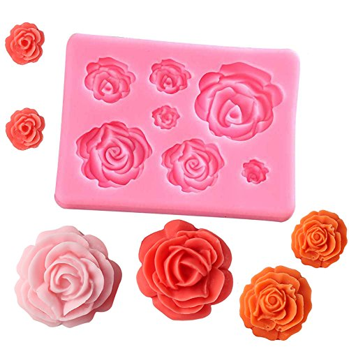 Liamostee 3D Silicone Mold Cake Decorating Tools Rose Flowers Mould for Soap Candy Chocolate Ice