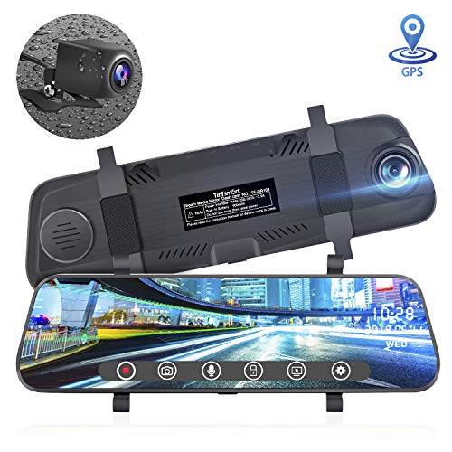 Tinfsmart Cars Video(2020 Updated) Mirror Dash Cam 10' Full HD Touch Screen Stream Media Camera 170°1296P & 150°1080P Backup Camera with GPS,WDR Night Version Loop Recording Parking Monitor