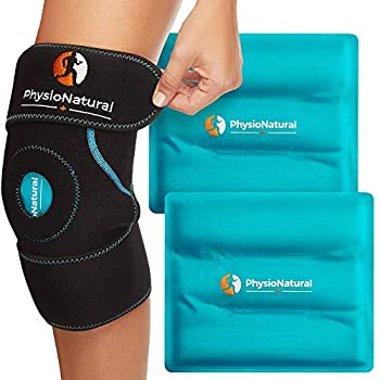 Knee Ice Pack Wrap - Cold Therapy with Adjustable Compression Support for Joint Pain Injuries Bursitis Pain Relief Knee Surgery Arthritis Meniscus Tear ACL Sprains & Swelling