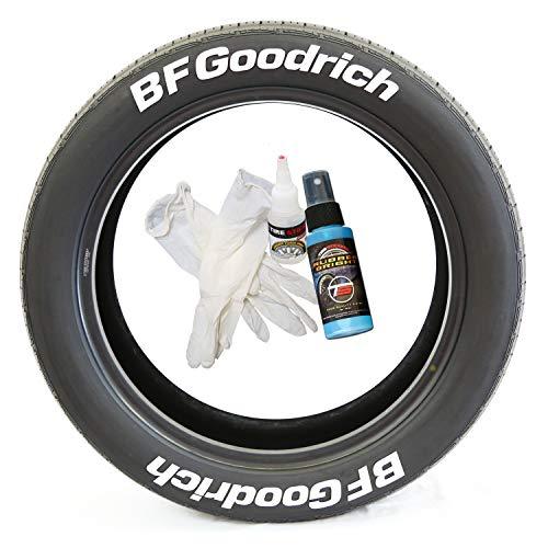 Tire Stickers BFGoodrich - Accessoire d'appoint pour Le Marquage des Pneus - Kit De Bricolage avec Colle & Nettoyant / 14-16 inch Wheels / 1.50 inches/White / 8 Pack