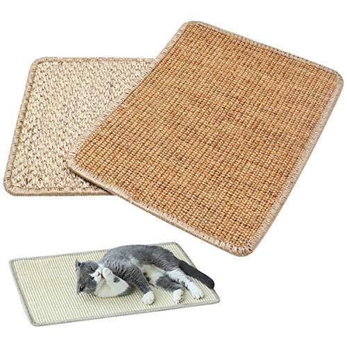 RoadLoo Katzen Kratzmatt, 2 Pcs Natur Sisal Katzenkratzpads Rutschfester Schadstofffrei Katzenteppich Ideal Katzenkratzkrallen für Katzenkratzkrallen und Schlafen Schützt Teppiche und Sofas (40x30cm)