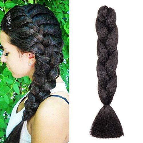 24'(60cm) Pelo Sinttico para Hacer Trenzas Africanas Extensiones de Cabello Se Ve Natural Crochet Braiding Hair Extensions (100g,Negro Natural)