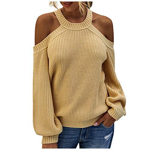 Shaohan Sudadera elegante con hombros descubiertos, jersey de punto para otoño, parte superior sin tirantes, blusa de manga larga para mujer amarillo 36