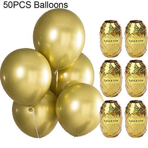 Kcnsieou Globos BNS - Bolas de plástico (25,4 cm, 50 unidades), color dorado