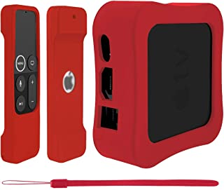 Geekria - Carcasa protectora para Apple TV 4K y 4ª generación, diseño de mando a distancia con cordón (antideslizante), co...