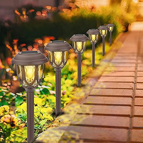 Luces Solares Jardín, 6 Pack LED Lamparas Solares Jardín, Energía Solar Luces Jardín Impermeable IP65, Luz Solar de Exterior Césped, Luces de Decoración para Pasillo, Terraza, Patio,Camino