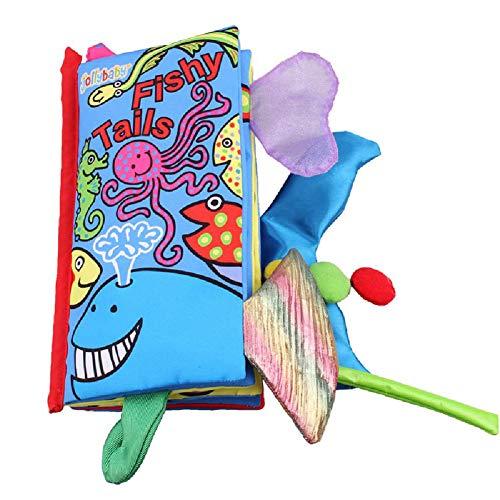 HT&PJ Bebé Mi Primer Libro no tóxico Suave del paño Libro Animal Tridimensional de la Cola de Tela de Dibujos Animados Toy Libro, Marine Tail