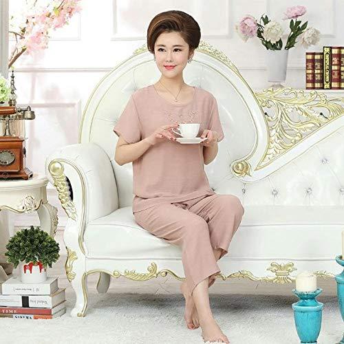 JFCDB Nachthemd Nieuwe Groene Print Vrouwelijke Pyjama Set Nachtkleding Chinese Vrouwen Katoen Linnen Pyjama Pak Bloem Nachtkleding ML XL XXL YZ089, Camel2, L