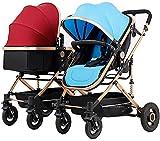 Kinderwagen doppelte Kinderwagen-Zwillinge und Tandem-Kinderwagen, reversible Sitzkonvertierungen, um den Tragegeld, leichter Bassinet-Kinderwagen verlängerter Baldachin