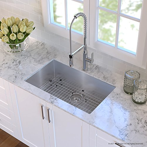 Kraus KHU100-30-1650-41SS Stainless Steel 30 Combo with Handmade Undermount Single Bowl 16 Gauge Sink and Nola Commercial Kitchen Faucet with Soap Dispenser