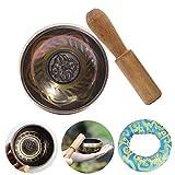 FXQIN Juego de Cuencos tibetanos Hecho a Mano Cuenco de meditación Tibetan Singing Bowls con cojín de Seda y mazo de Madera, Impreso Seis símbolos afortunados de la Suerte