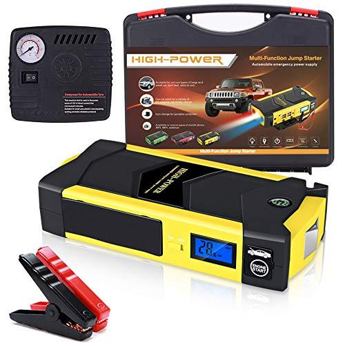 Arrancador de Coche 1000A, 20000mAh Auto Emergency Booster, Jump Starter Portátil Impermeable, 6.0L de Gasolina y 4.0L de Diesel, IP67, Linterna LED, con Abrazaderas Inteligentes,Yellow