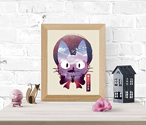 Kiki's Delivery Service Art Print - Studio Ghibli Wall Art 8 x 10 Unframed Japanese Anime Artwork Haku Dragon Print Hayao Miyazaki Wall Hanging Cool Movie Home Decor, Jiji Black Cat Artwork