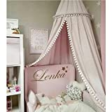LOAOL Kids Bed Canopy with Pom Pom Hanging Crib Nook Castle...
