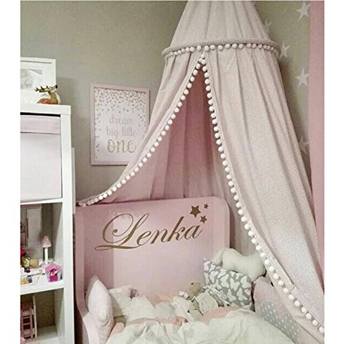 LOAOL Kids Bed Canopy with Pom Pom Hanging Mosquito Net for Baby Crib Nook Castle Game Tent Nursery Play Room Decor Pink