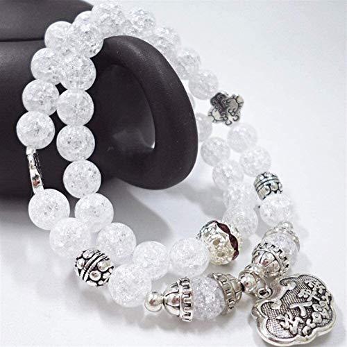 Plztou Stone Bracelet Women,7 Chakra Natural Stone Beads White Crack Crystal Elastic Long Bangle Lock Pendant Jewelry Yoga Energy Reiki Pray Charm Gift For Couple