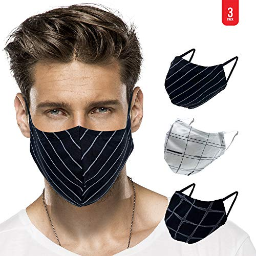 MADDY Face Mask Adult, 2-Layer Breathable Cotton - Perfect for Medium & Large Face - Washable Cloth, Stretchy Ear Loops - Reusable, Reversible - Black & White Geometric Unisex Print (Pack of 3)