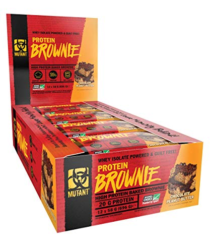 MUTANT PROTEIN BROWNIE - Delicious High Protein Nutritious Snack, 20g Protein including Whey Protein Isolate - Chocolate Peanut Butter - 12 x 58 G