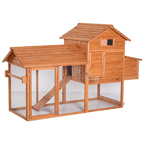 Pawhut Gallinero Exterior Madera Integrado Run Limpieza Bandeja Casa para Gallinas Jaula para Animales Pequeños Pollo 213x91x122cm