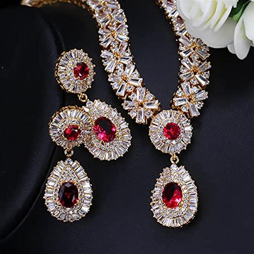 Wnkls 6 Colores Perlas Grande Rojo Verde Azul Cúbico Zirconia Mujeres Joyería Conjuntos para La Fiesta De La Tarde (Metal Color : Red Gold)