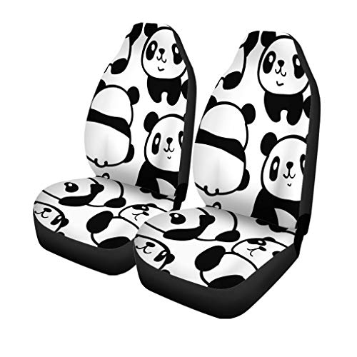 Pinbeam Car Seat Covers Funny of Pandas Pattern Cartoon Cute Bear Drawing Adorable Set of 2 Auto Accessories Protectors Car Decor Universal Fit for Car Truck SUV Mississippi