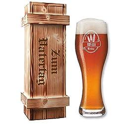 Leonardo Weizenbierglas in Holzkiste - mit Gratis-Gravur von Bierlogo + Name + Jahr | Bier-Geschenke Geburtstagsgeschenk (B1)