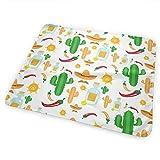 Voxpkrs Almohadilla Suave para pañales, Absorbente, Lavable, colchoneta de Cambio de colchón Cute Mexican Vector Graphics(65x80cm)