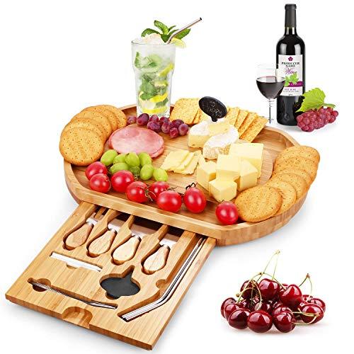 Duerer Juego de tablas de queso, bandeja de carne y queso con cubiertos en un cajón deslizable - Bandeja de bambú para galletas, el mejor regalo para Navidad, San Valentín, cumpleaños-incluye pajitas