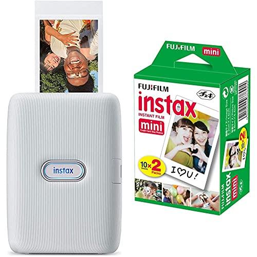 Instax 16640682, Impresora para Smartphone, Blanco, Tamaño Único + m Instax Mini Brillo - Pack de 40 Películas Fotográficas Instantáneas (40 Hojas), Color Blanco